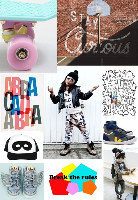 'Breaking the rules' collage for kids designer fashion trends for fall 2015 - rebellion inspired by street art and electronic media by Julie Malait