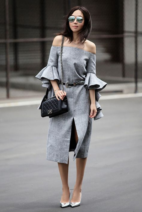 CHICWISH Classy Grey Twill Dress with Frilling Sleeves, Chicwish collaboration…