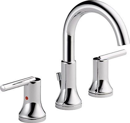 Delta 3559 Mpu Dst Trinsic 2 Handle Widespread Bathroom Faucet With Diamond Seal Technology And Metal Drain Assembly Chrome Two Handle T Bathroom Faucets Widespread Bathroom Faucet Sink Faucets