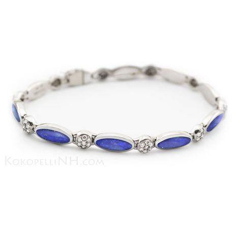 Diamond, Lapis and White Gold Bracelet