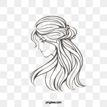 Creative Hand Drawn Lines Brown Curly Woman Side Face Side Face Woman Curly Hair Png Transparent Clipart Image And Psd File For Free Download Face Line Drawing How To Draw Hands