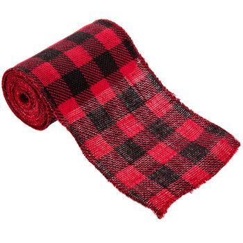 Red Black Plaid Burlap Ribbon 5 1 2 Burlap Ribbon Buffalo Plaid Ribbon Buffalo Plaid Christmas Decor