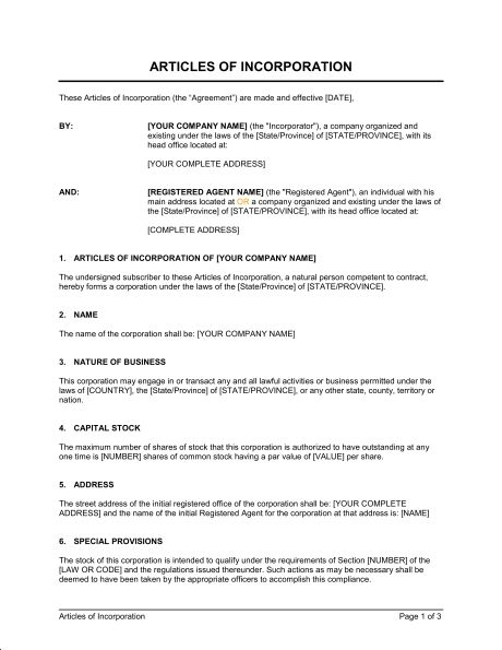 Articles Of Incorporation Example Nonprofit Articles Of Incorporation Harbor Compliance By Www Harborcomp Lease Agreement Proposal Letter Sample Resume