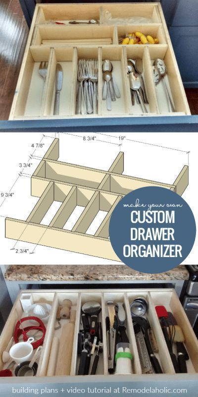 Custom Diy Adjustable Drawer Organizer For Utensils And More Diyproject Wooden O Utensil Drawer Organization Wooden Drawer Organizer Kitchen Drawer Dividers
