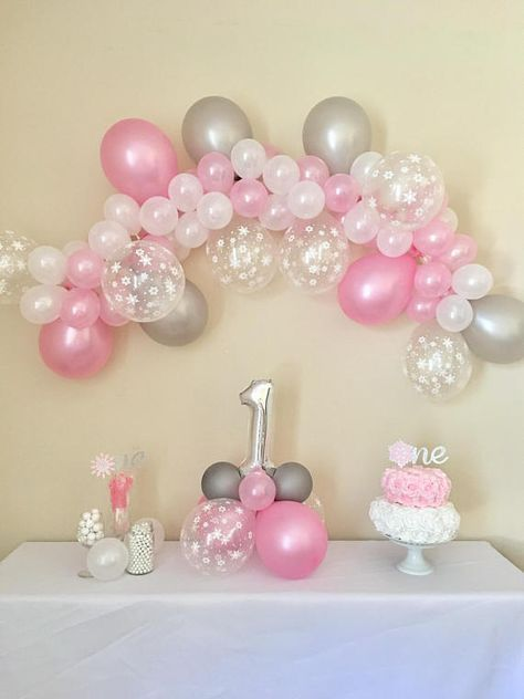 Balloon Garland DIY Pink Silver and Snowflakes Winter