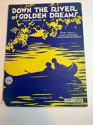 1930 Sheet Music Down The River Of Golden Dreams Cover Art Canoe