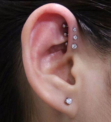 Simple Cute Triple Forward Helix Ear Piercing Ideas for Teens Girls - Swarovski Earring Studs 16G for Cartilage Helix Conch Tragus -  lindas ideas para perforar orejas - www.MyBodiArt.com