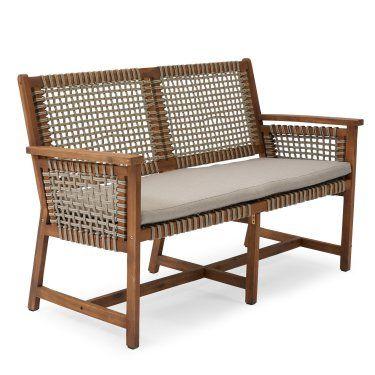 Strange Belham Living Raeburn Wood And Rope Outdoor Bench Inzonedesignstudio Interior Chair Design Inzonedesignstudiocom