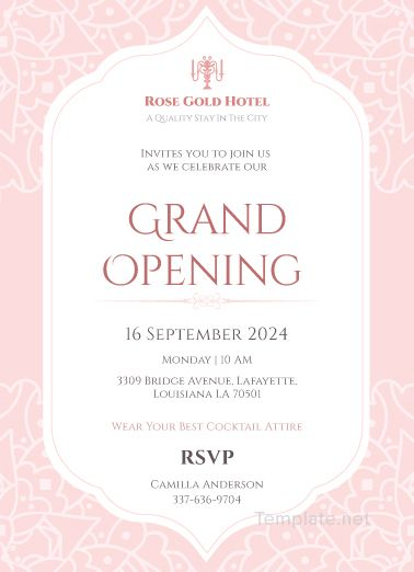 Hotel Opening Invitation Card Template Invitation Card Format Shop Opening Invitation Card Grand Opening Invitations