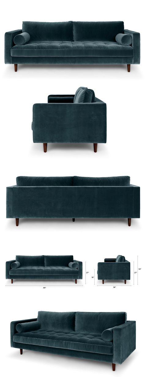 Blue Velvet Tufted Sofa - Upholstered | Article Sven Modern Furniture
