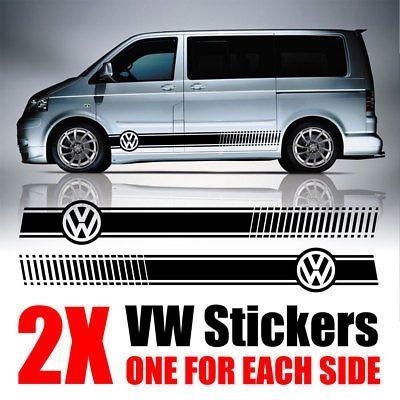 Side Stripe Stickers Décalque Vinyle Pour VW Volkswagen Caddy Autocollant Camper Van