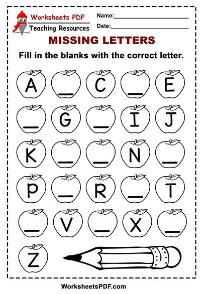 Free Printable Apple Alphabet Missing Letters Alphabet Letter Worksheets Alphabet Worksheets Free Printable Alphabet Worksheets Printable worksheets missing letter