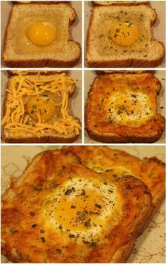 I'd cook the eggs longer and top with cheese. Yummy and fast ! Cheesy Baked Egg in Toast is a delightful variation of two breakfast classics: eggs and toast. This easy-to-prepare breakfast will become a family favorite. Breakfast Desayunos, Second Breakfast, Breakfast Dishes, Breakfast Casserole, Breakfast Recipes With Eggs, Yummy Breakfast Ideas, Healthy Egg Breakfast, Recipes With Eggs And Bread, Simple Egg Recipes