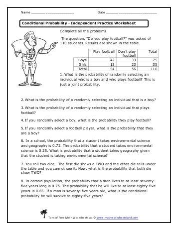 Independent And Dependent Probability Worksheet Conditional Probability Probability Worksheets Practices Worksheets