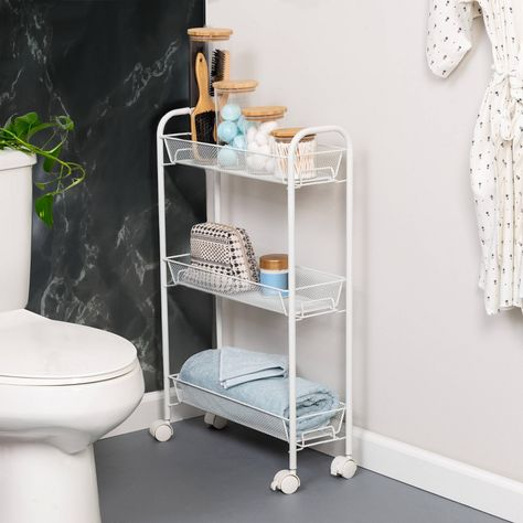 You're a mover and a shaker. So whether it's storing laundry, kitchen or bathroom accessories, this slim storage cart rolls right along with you for when you need it and slides neatly into smaller spaces. Diy Kit, Home Organization, Organizing, Storage Spaces, Diy Storage For Small Spaces, Decoration, Bathroom Ideas, Bathroom Cart, Bathroom Interior