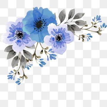Blue Flower Corner Blue Flower Png Flower Png Images Flower Illustration