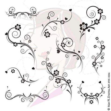 This digital flourishes clipart features 10 various design files. Make your own invitations, scrapbook and crafts designs, and more. #digital #flourishes #clipart #designs