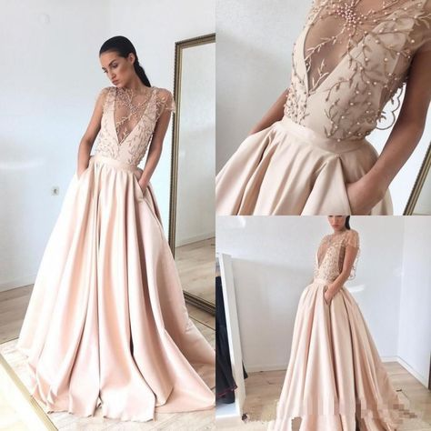 445813656e98 Modest Blush Pink Pearls Deep V Neck Prom Dresses 2018 Embroidery A Line Formal  Evening Gowns With Pockets Plus Size Party Dress Overskirt Evening Dress ...