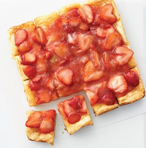 """Anything with the words """"gooey bars"""" in the name has to be good, right? Make the perfect for the season by using strawberries and rhubarb."""