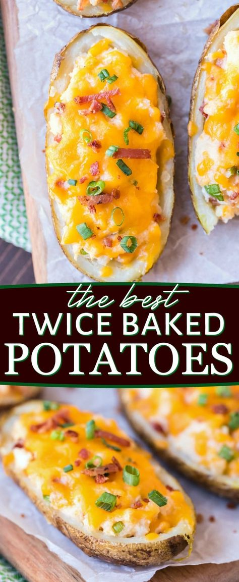 Twice Baked Potatoes are the ultimate side dish and the perfect addition to any meal! You're going to love the creamy filling that is loaded with bacon, sour cream and two types of cheese! Best Twice Baked Potatoes, Best Baked Potato, Baked Potato Recipes, Baked Potato Fillings, Stuffed Baked Potatoes, Cream Cheese Potatoes, Twice Baked Potato Recipe With Cream Cheese, Twice Bake Potato Recipe, Twice Baked Potato Casserole
