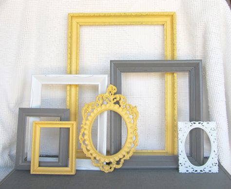 Yellow Grey White VINTAGE Ornate Open Frames Set of 7 by BeautiSHE, $80.00 perfect for the grey and yellow bedroom