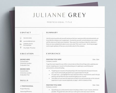 Best Modern Resume Template for 2021 (for Word and Apple Pages) - the Julianne