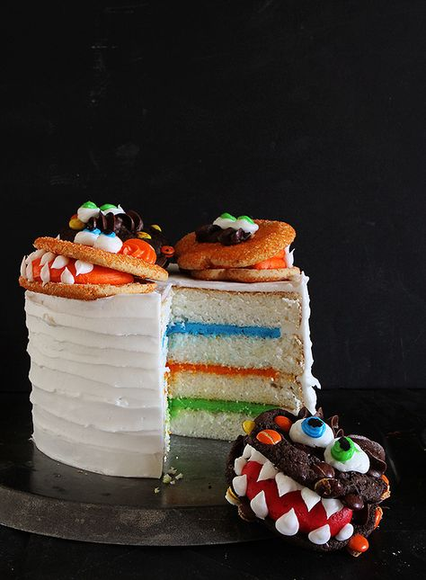 Monster Cake with Monster Cookies {Cookie Decorating Tutorial}