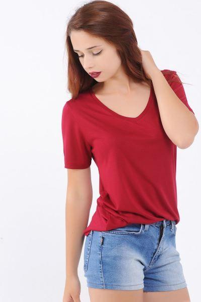 Bayan Tisort V Yaka Salas Fusya T Shirt Muhafazakar Kapali Stil Sik Abiye Style Genc Tarzi Rahat Genc Butik Tasarim Gunluk V Yaka Stil Tisort