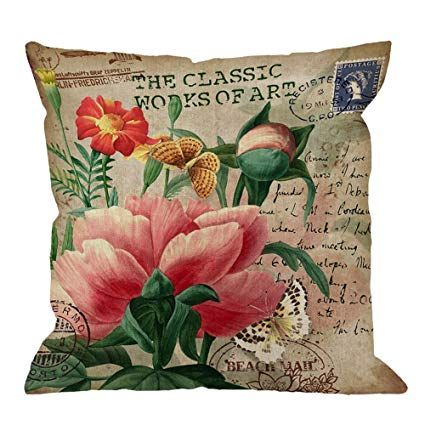 Cotton Linen Vintage Butterfly Throw Pillows Covers Case Decorative Pillow Home