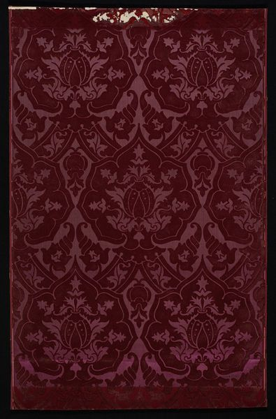 Specimen of wallpaper with a damask pattern on a red satin ground; Designed by Paul Balin; Exhibited at the Vienna Exhibition of Produced by Paul Balin, Paris;