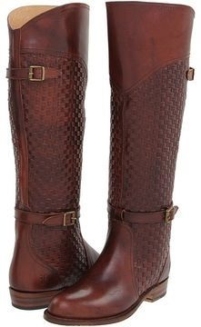 FRYE Women's Dorado Riding Boots Burnt Deep Red Woven Leather 8 RARE NEW