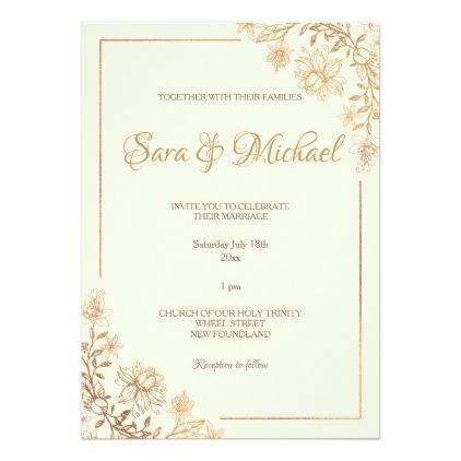 Gold Floral Flourish Wedding Invitation Zazzle Com In 2021 Gold Wedding Invitations Floral Wedding Invitations Wedding Invitations