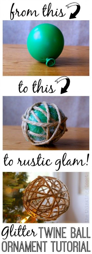"""DIY Glitter Twine Ball Ornament Tutorial   Start with a balloon and some twine and end up with a Glitter Twine Ball Ornament!  So easy! this year, I thought it'd be fun to create some Glitter Twine Ball Ornaments to compliment our Tree Topper.  And just because it's """"rustic"""" doesn't mean it can't be """"glam.""""  In fact, I hereby dub my holiday decor style, """"rustic glam."""" Find the full tutorial here!"""