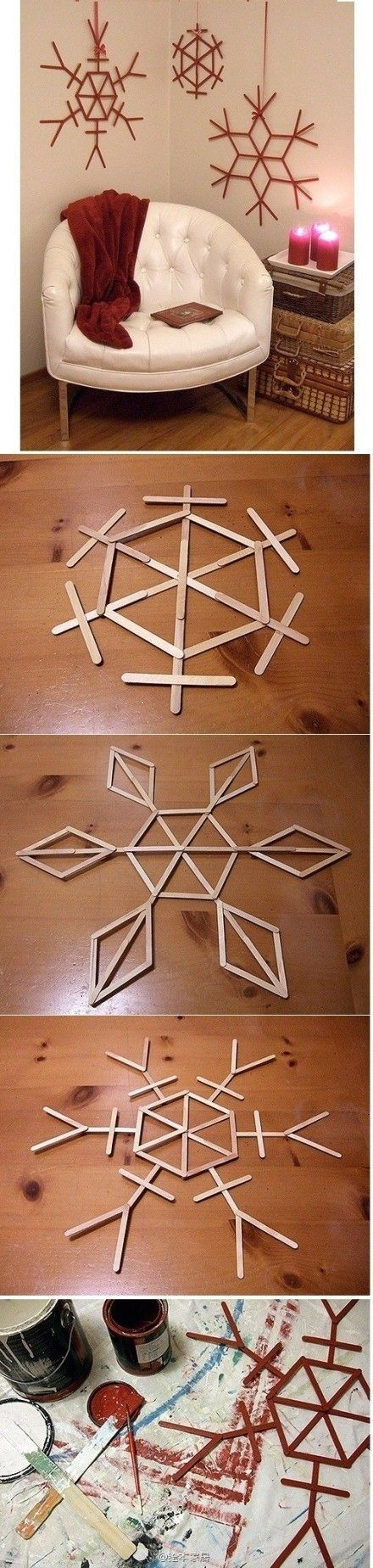 snowflakes for the wall. (Link is foreign). Design with craft sticks--glue as desired. Paint (could use glitter, too!). Apply fixative to protect. Hang with yarn or ribbon.