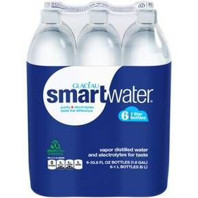 Smartwater 6pk 1 L Bottles Bottle Distillation Premium Water Bottle