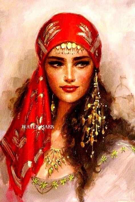 This is such a beautiful portrait. I de love to have the real portrait hanging on my wall ---by Remzi Taşkıran Gypsy Life, Gypsy Soul, Boho Gypsy, Gypsy Hair, Des Femmes D Gitanes, Santa Sara, Halloween Karneval, Gypsy Women, Gypsy Girls