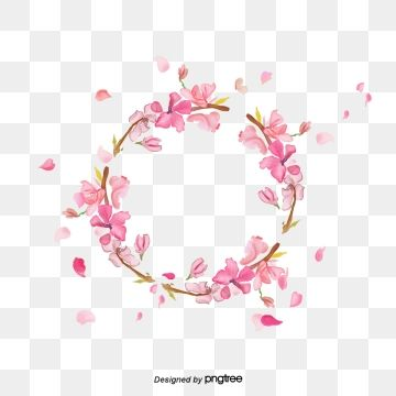 Romantic Elements Of Pink Cherry Wreath Cherry Blossom Clipart Hand Painted Cherry Blossoms Png Transparent Image And Clipart For Free Download Pink Flowers Background Romantic Background Flower Backgrounds