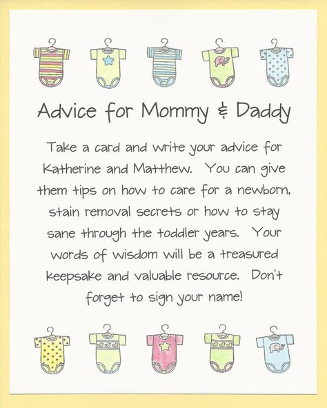 Advice for Mommy & Daddy Baby Shower Game