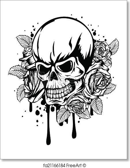 Freeart Fa21166184 Skull And Rose Drawing Skull Coloring Pages Free Art Prints