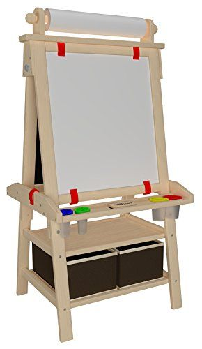 little partners deluxe art easel natural u2013 two sided aframe paint easel chalk board u0026