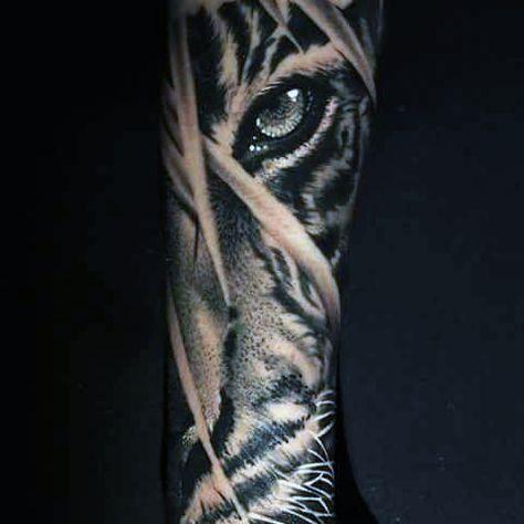 Male Siberian Tiger Eye Tattoo Sleeve