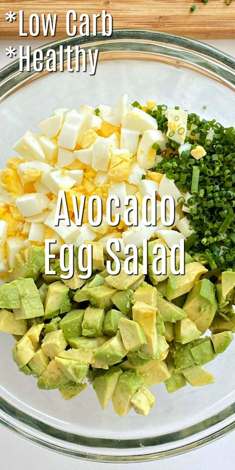 Keto Avocadeo Egg Salad Recipe - Make a filling and fresh low-carb lunch. This keto avocado egg salad recipe is bursting with flavor, and it's super easy! Keto Egg Salad, Healthy Egg Salad, Easy Egg Salad, Avocado Egg Salad, Easy Salads, Avocado Toast, Healthy Snacks, Healthy Eating, Keto Avocado