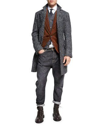 Brunello Cucinelli Glen Plaid Alpaca Single-Breasted Coat, Dark Gray and Matching Items
