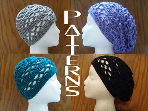 Crochet PATTERNS Breezy Lattice Beanie and Slouchy Beanie Hat Two Patterns  DIY 6c08c855abc