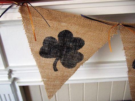 NOTRE DAME Shamrock Banner - Fighting Irish - Burlap Banner - College Football. $22.00, via Etsy.