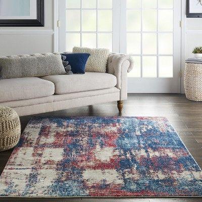 Nourison Imprints Imt02 Red White Blue Indoor Area Rug 5 3 X 7 3