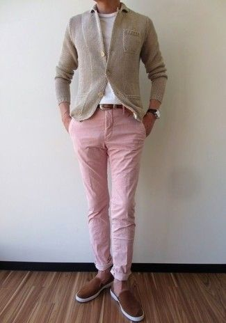Men S Beige Knit Blazer White Crew Neck T Shirt Pink Chinos Brown Suede Slip On Sneakers Stylish Mens Outfits Winter Outfits Men Mens Outfits