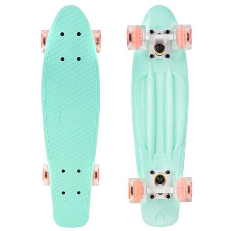 The Cal 7 Arcadia Mini Cruiser boasts heavenly vibes on a super smooth ride. A light turquoise deck with transparent wheels and a coral core are totally unique — you'll love showing it off. Cruiser Skateboards, Vintage Skateboards, Cool Skateboards, Skateboards For Girls, Penny Skateboard, Skateboard Design, Skateboard Girl, Cruiser Boards, Skater Girls