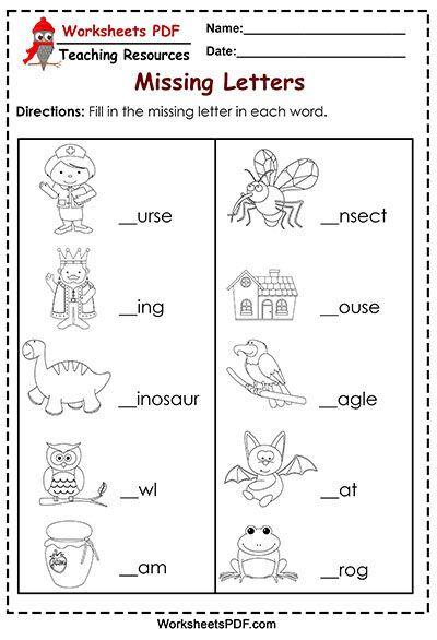 Find A Word With Missing Letters Missing Letter Worksheets Letter Worksheets Printable Alphabet Worksheets