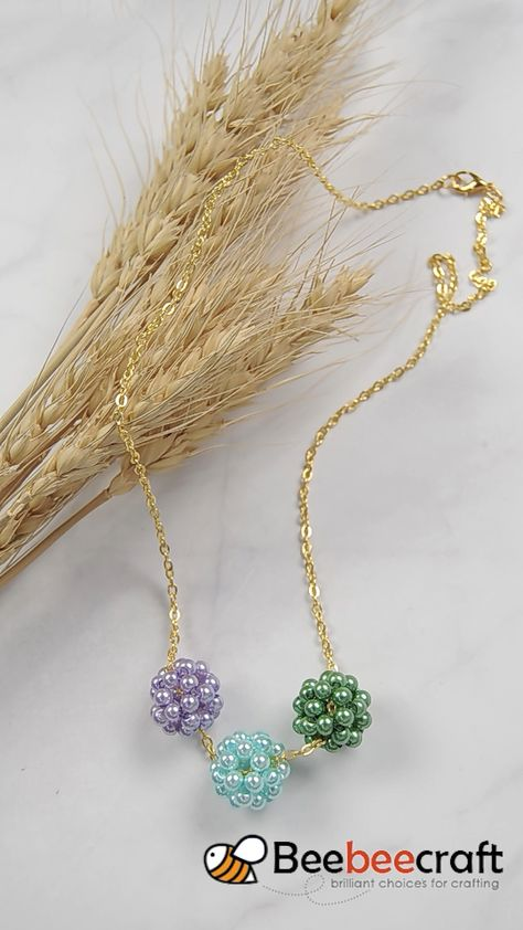 Beebeecraft three color ball-shapped necklace making with pearl beads